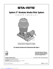 Sta rite pool filter owners manual