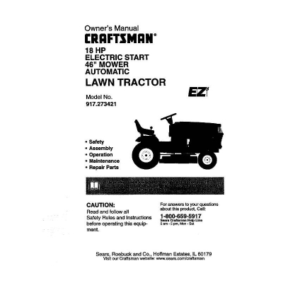 Owners manual for craftsman lawn mower model 944