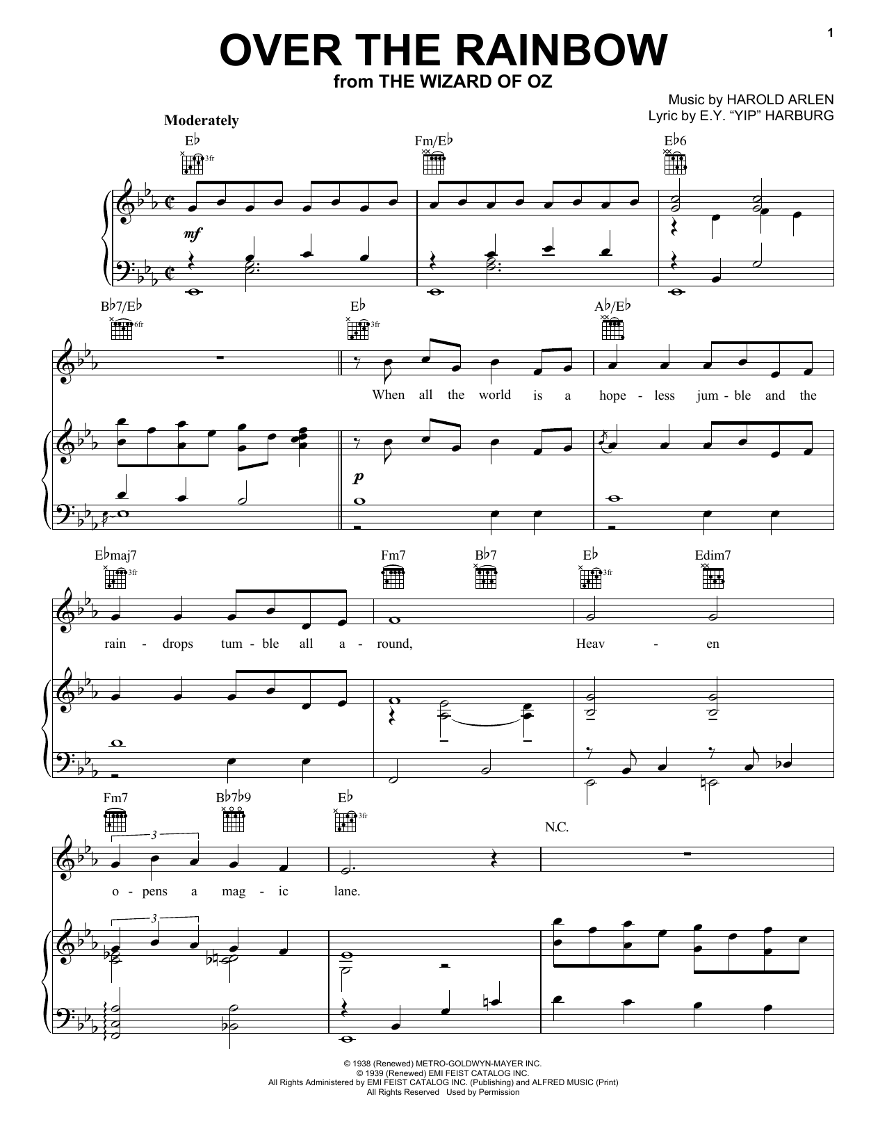 Somewhere over the rainbow sheet music pdf free