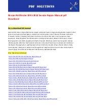 2005 nissan pathfinder repair manual download