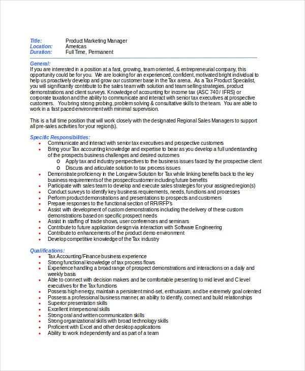 Job description and job specification of marketing manager pdf
