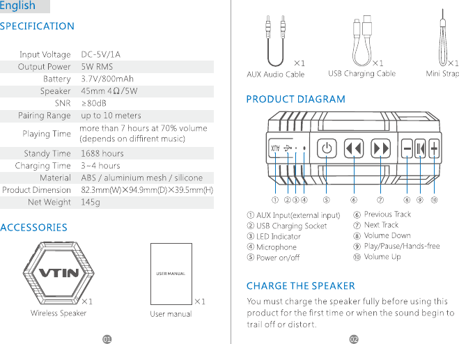 vtin punker bluetooth speaker manual