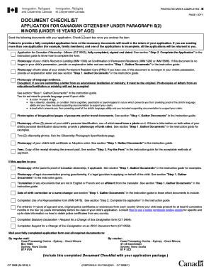 Document guide for application for canadian chitizenship for minors