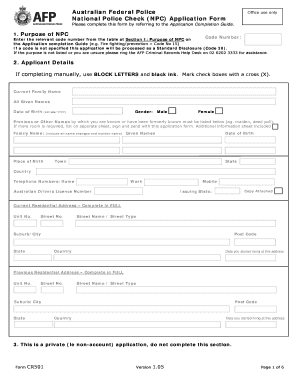 Irish police check application form