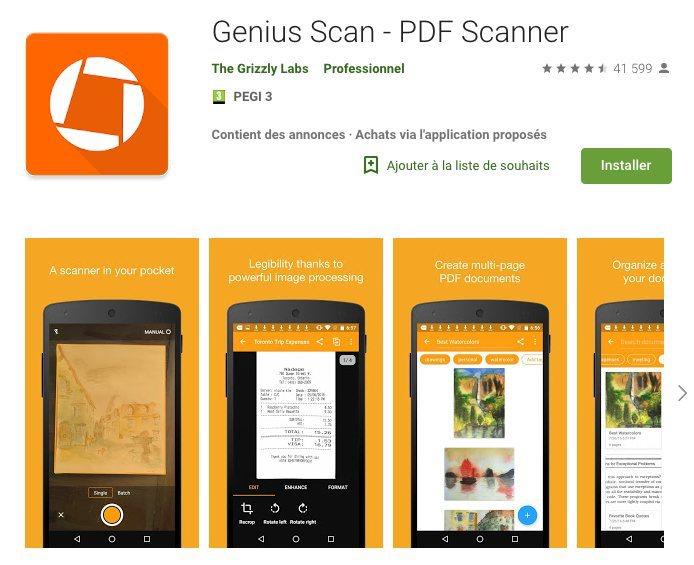 Application gratuite pour scanner photo papier