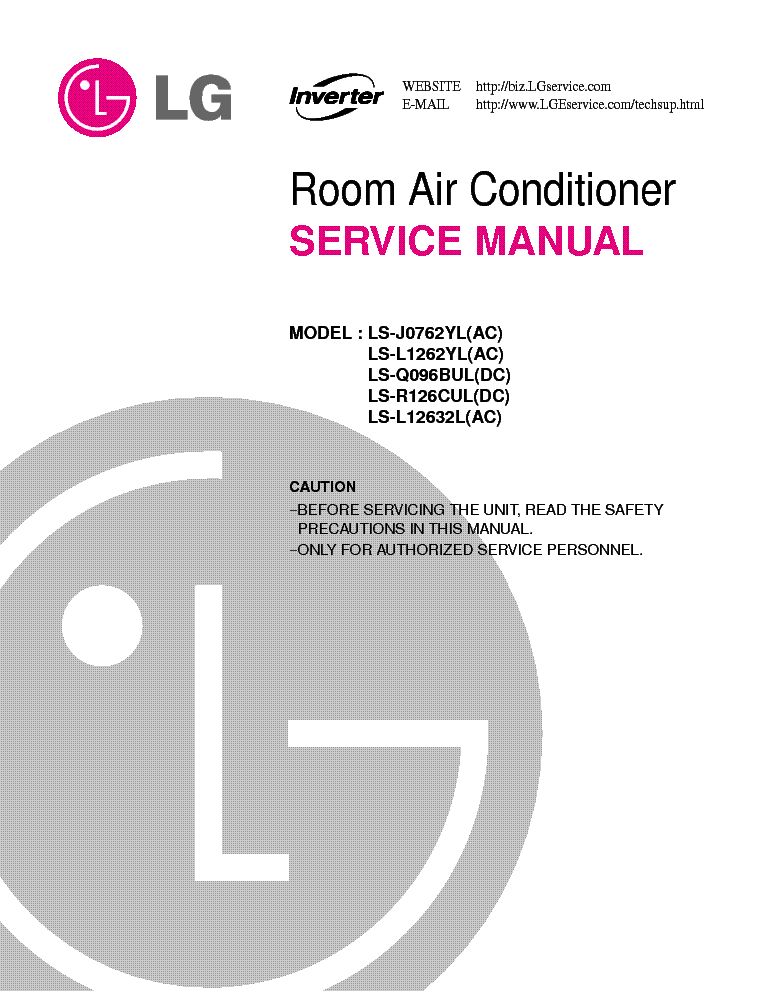lg room air conditioner service manual