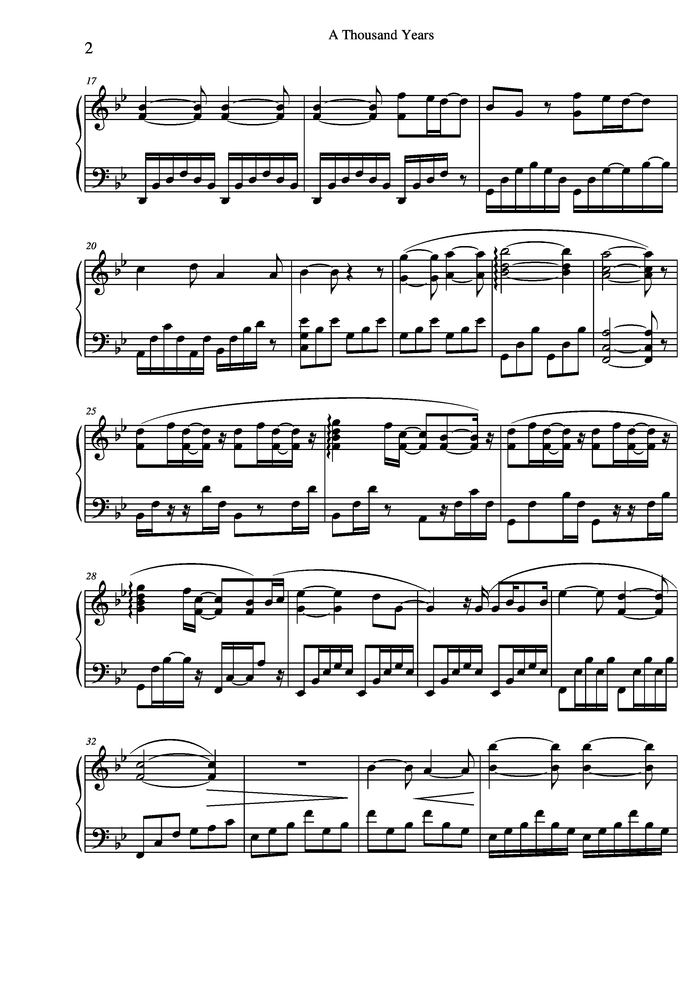 Thousand years piano notes pdf