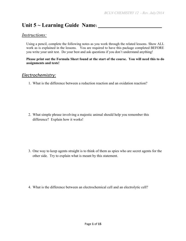 Bcln chemistry 12 unit 5 learning guide