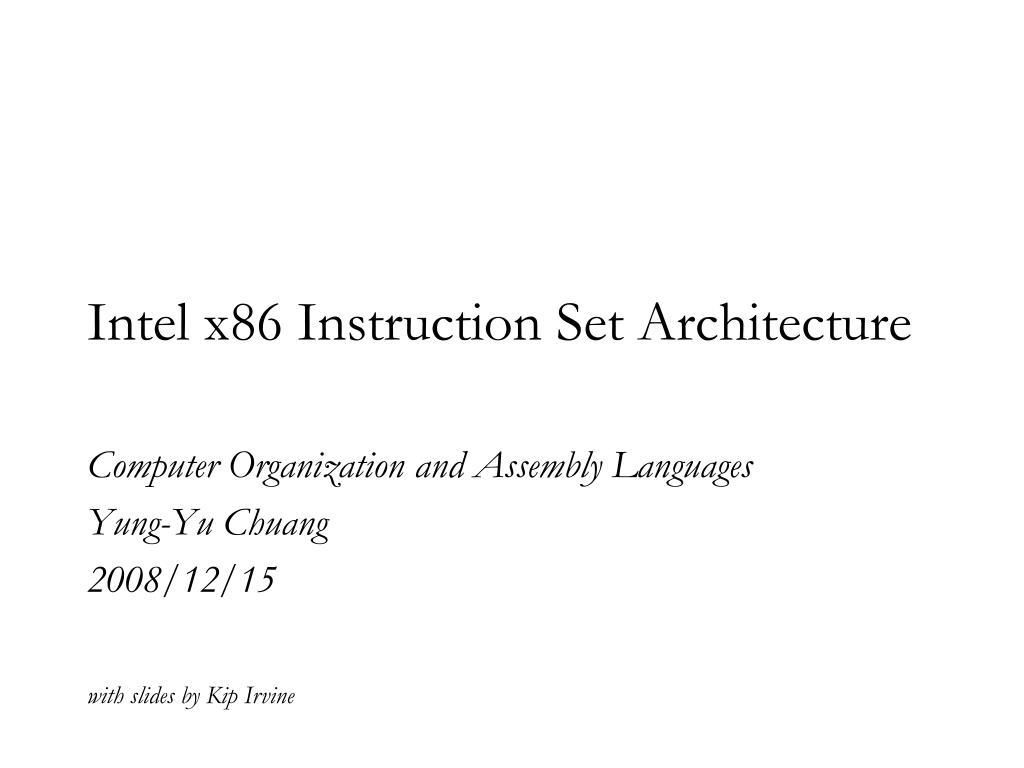 Intel x86 instruction set pdf