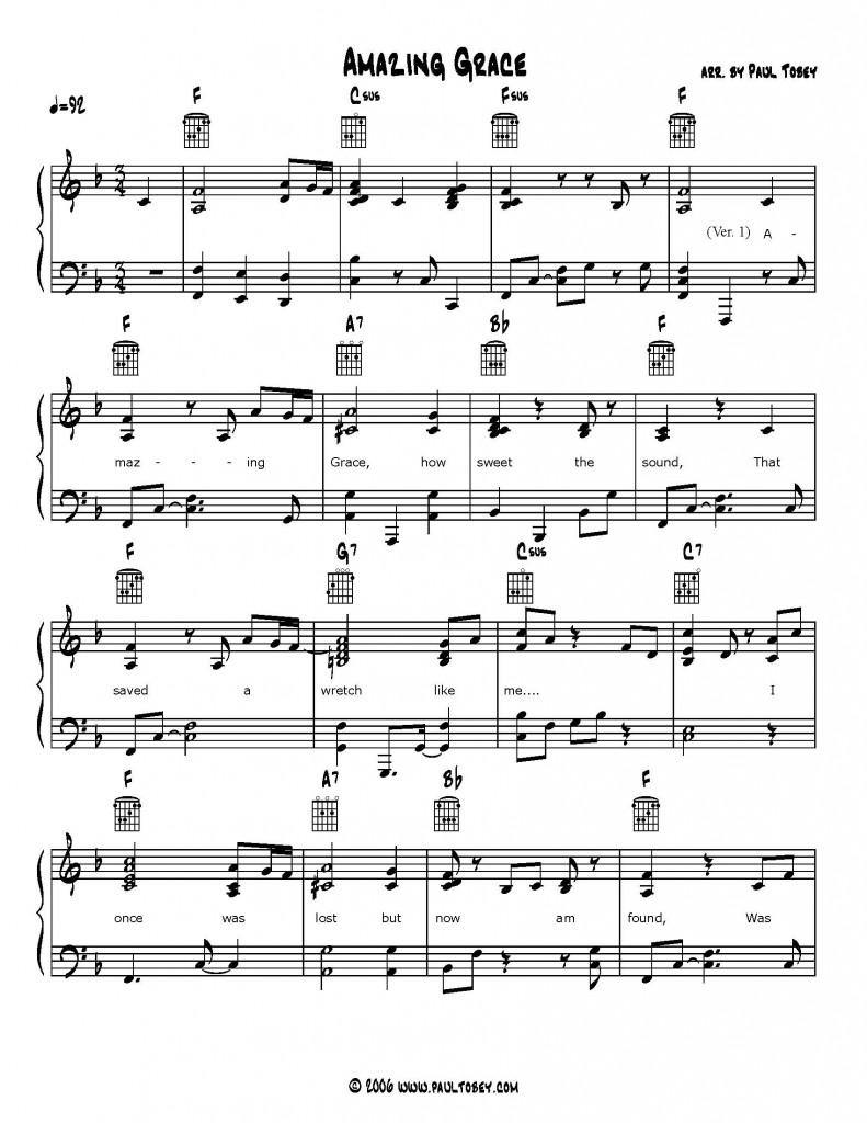 Amazing grace gospel piano pdf