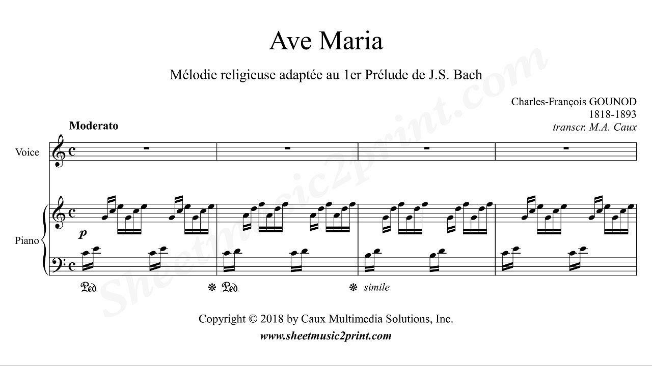 Ave maria bach gounod piano sheet music pdf
