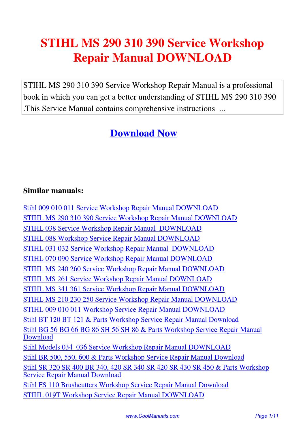 Stihl ts400 repair manual pdf