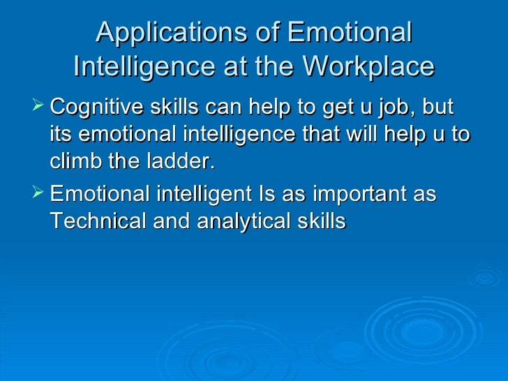 Emotional intelligence application to work