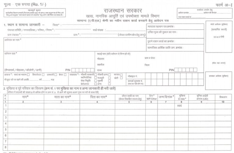 Conversion application form for ration card