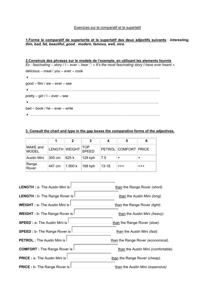 Comparatif et superlatif exercices francais pdf