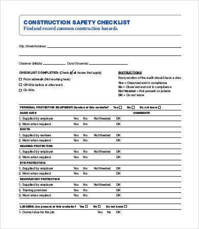 Building safety inspection checklist pdf