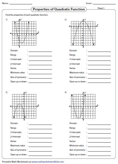 Identifying quadratic functions worksheet pdf