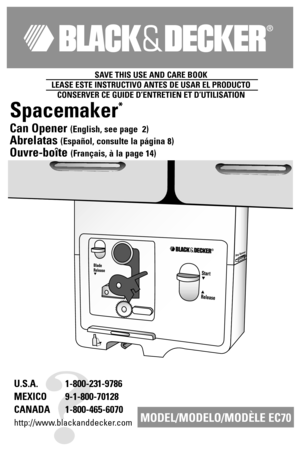 black and decker can opener manual
