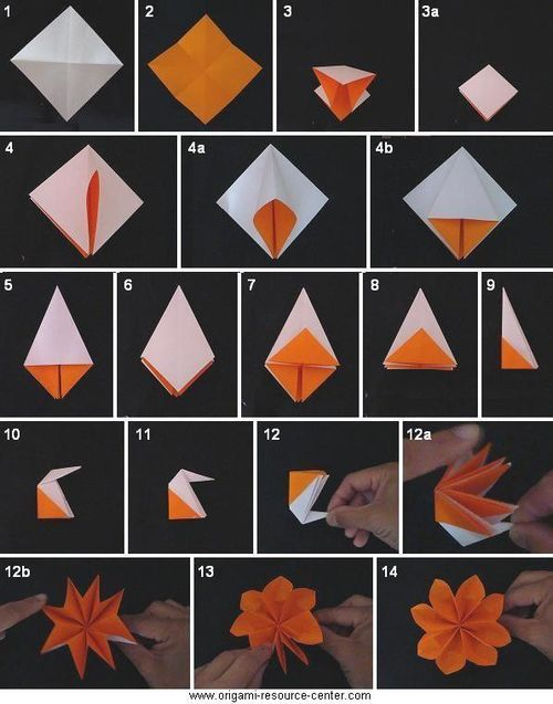 Easy origami flower instructions