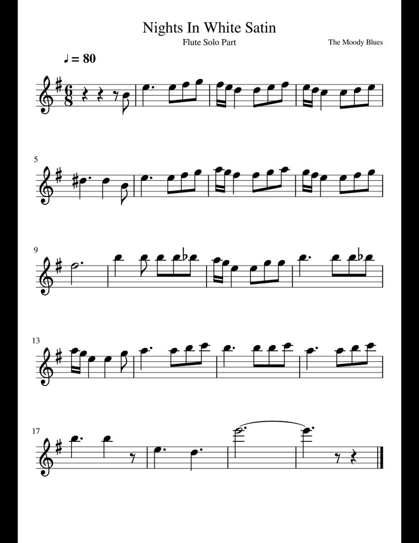 Night in white satin flute sheet music pdf