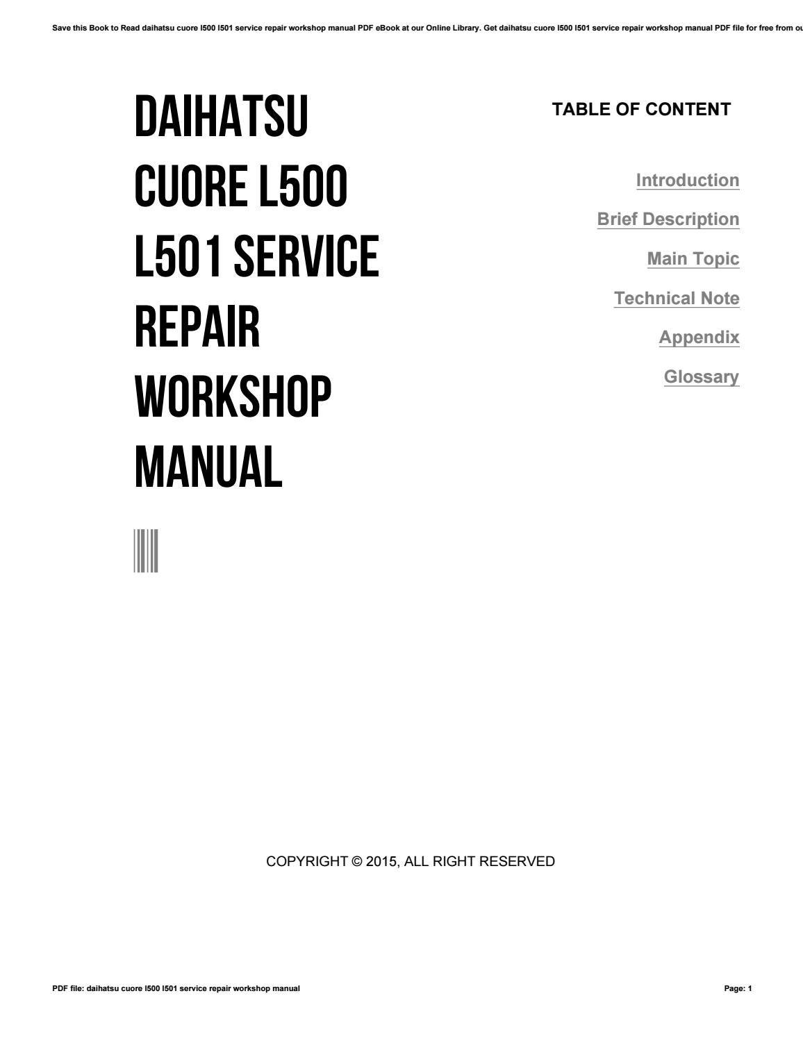 daihatsu cuore service manual free pdf