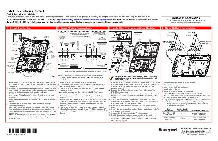 honeywell lynxr en installation manual