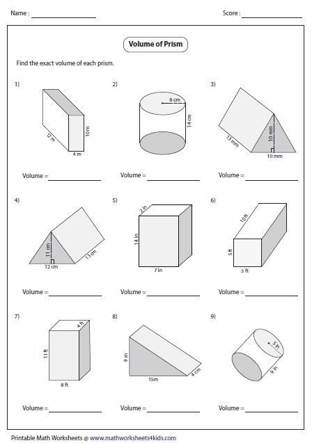 Volume of a triangular prism worksheet pdf