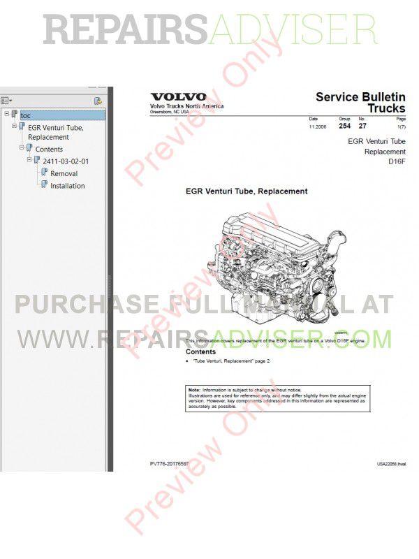 Volvo d16 engine service manual