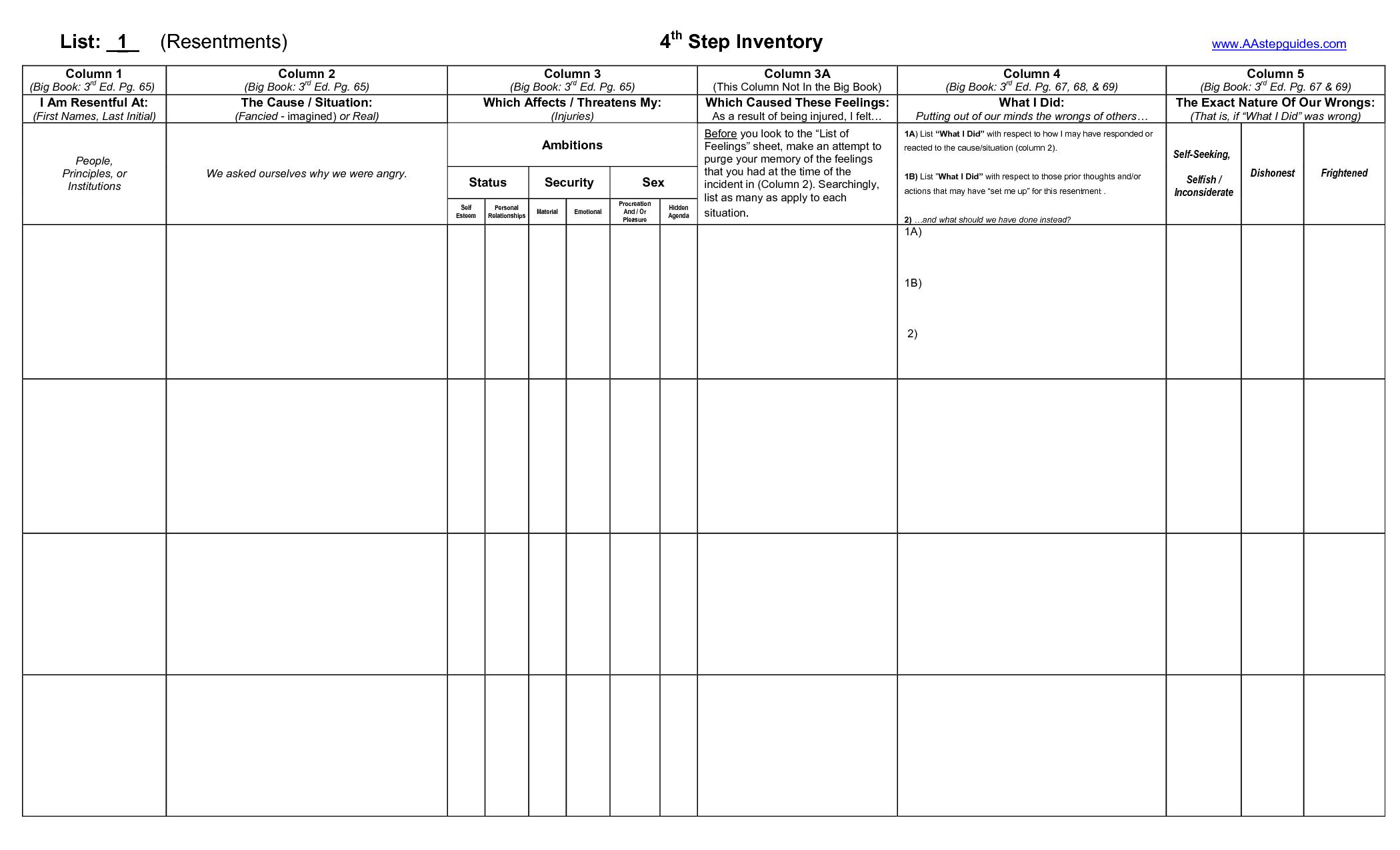 Aa step 6 worksheet pdf