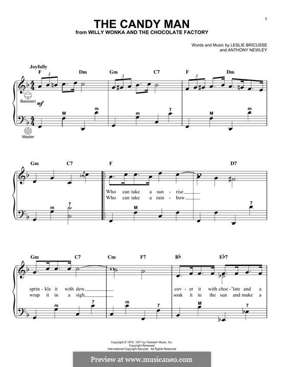 Willy wonka and the chocolate factory sheet music pdf