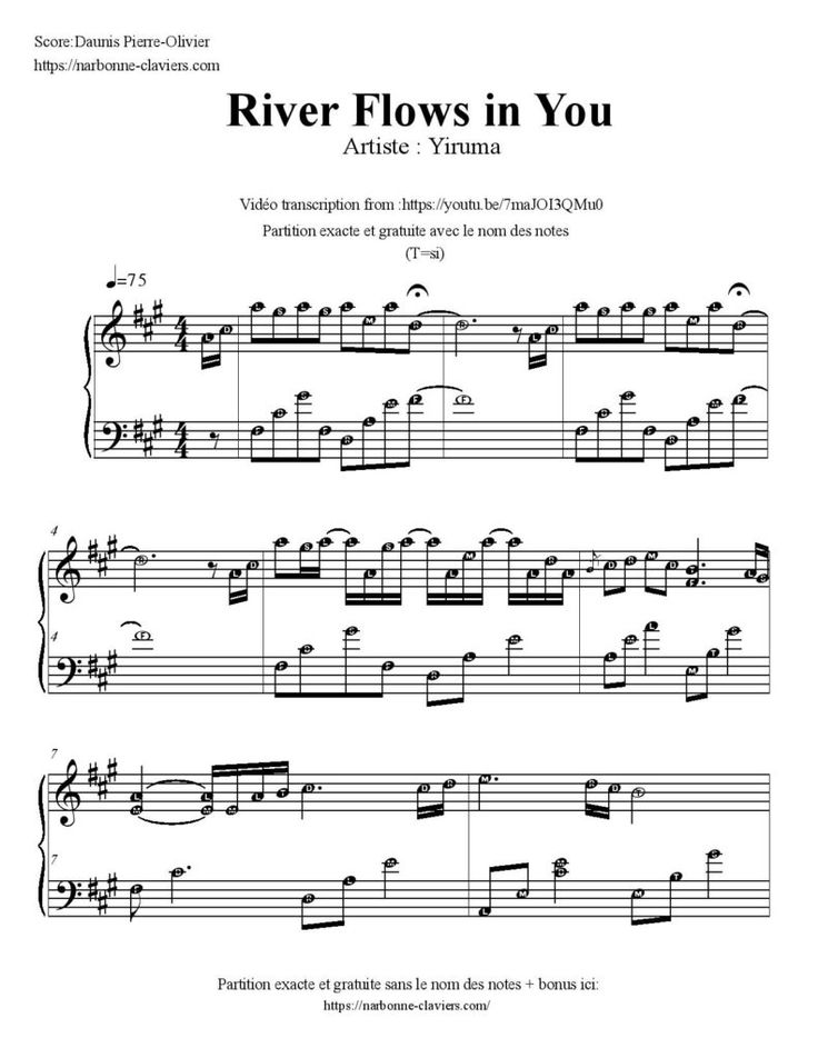 River flows in you piano notes pdf