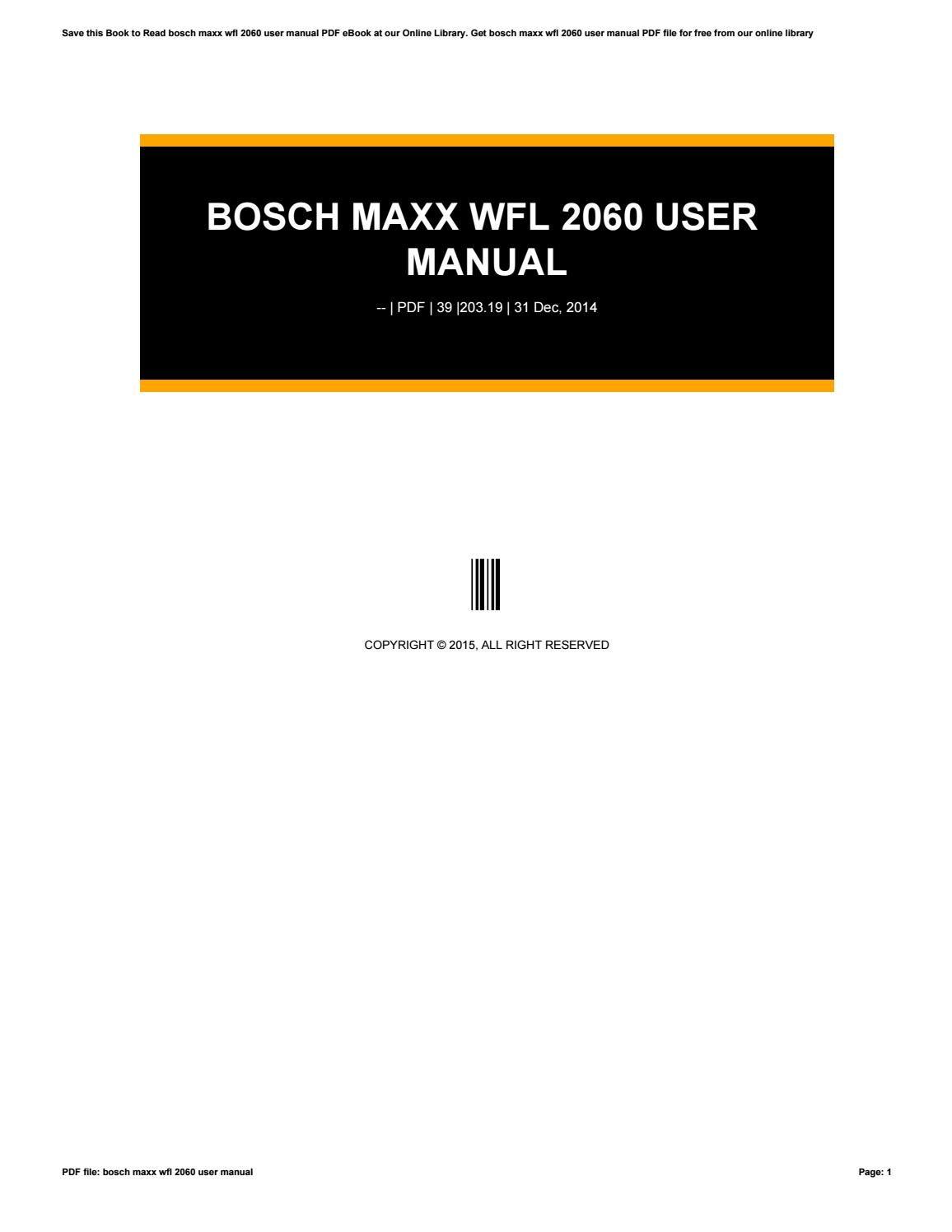 bosch maxx 900 instruction manual