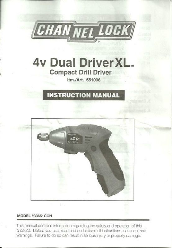 Channel lock 4v dual driver manual