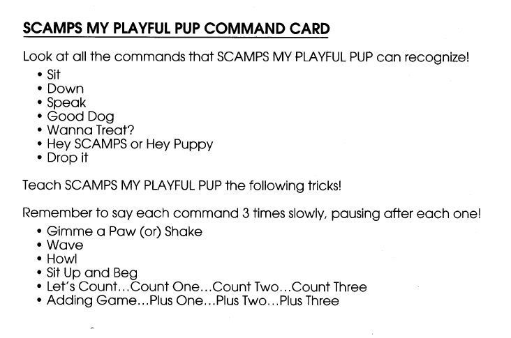 Scamps my playful pup instruction manual