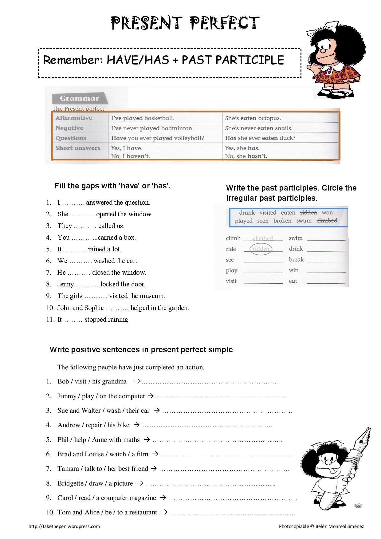 Past perfect worksheet pdf with answers