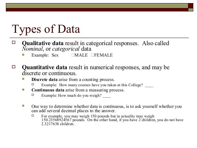 Explain qualitative and quantitative data with example