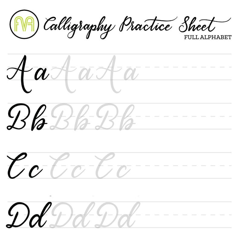 Calligraphy practice sheets printable pdf