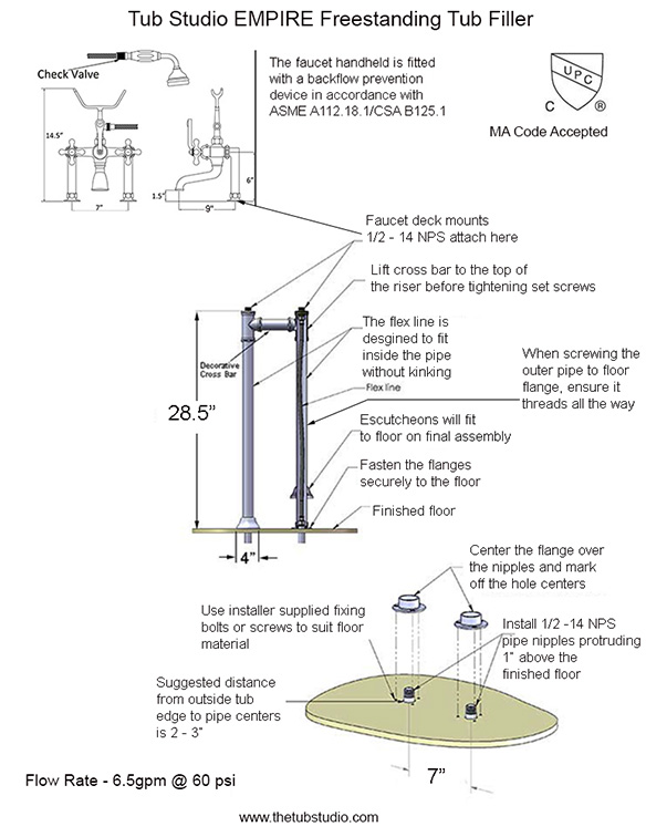 freestanding faucet install instructions