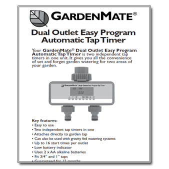 gardenmate tap timer instructions