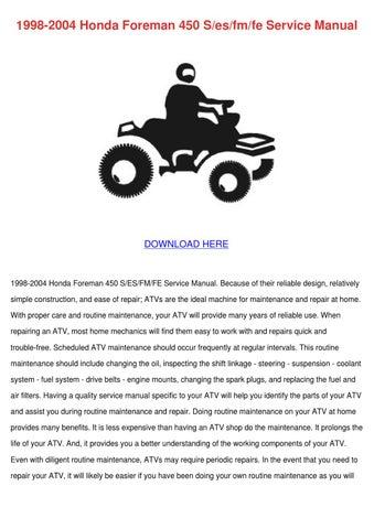 Honda foreman 450 es service manual pdf