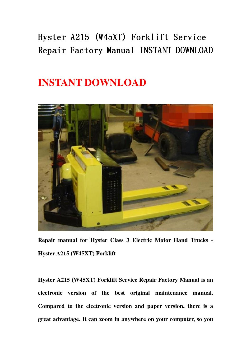 hyster s50c forklift service manual