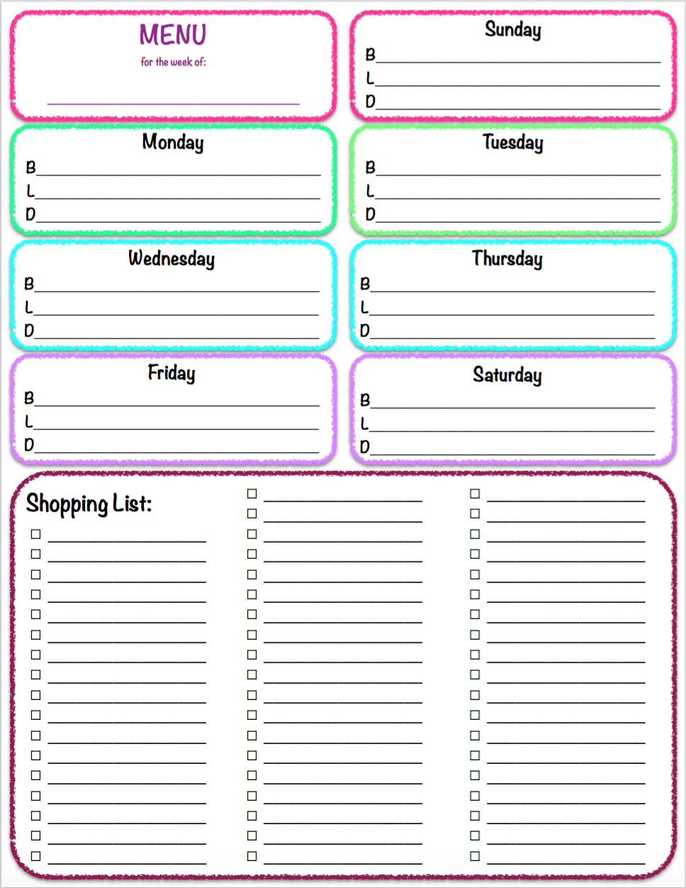 Meal planner and shopping list pdf template