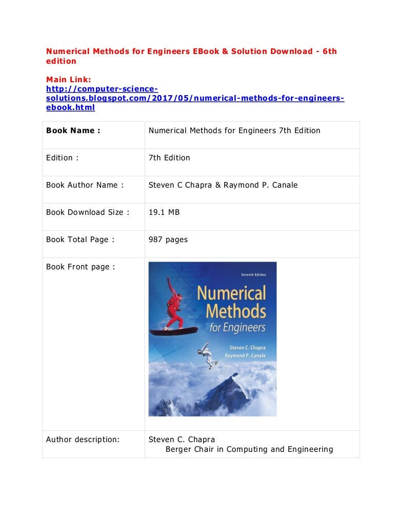 Numerical methods for engineers solution manual 7th edition