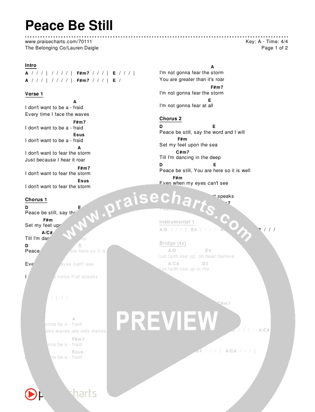 Peace be still the belonging co chords pdf