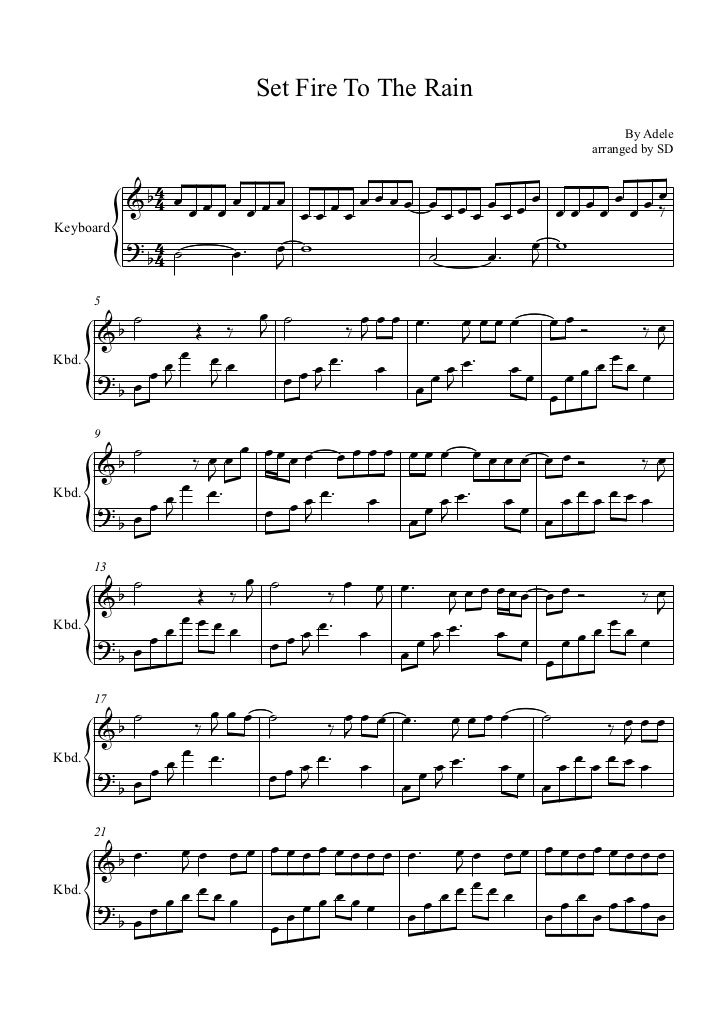 Set fire to the rain piano sheet music pdf