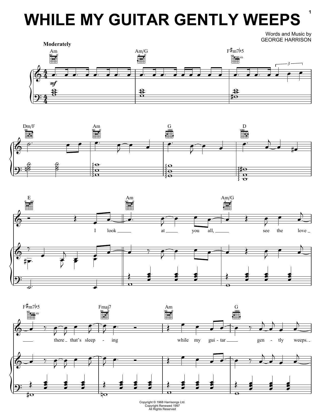 While my guitar gently weeps tab pdf